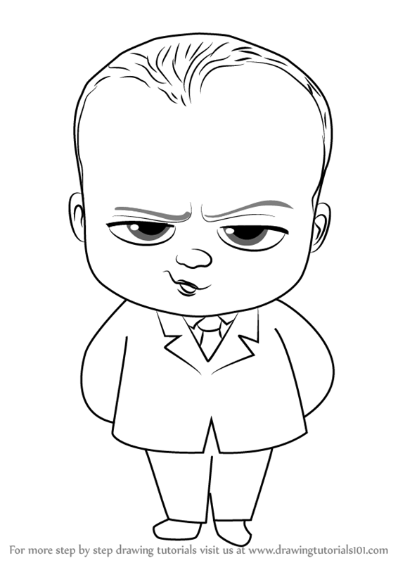 Learn How to Draw Baby Boss from The Boss Baby (The Boss Baby) Step by Step  : Drawing Tutorials - Baby Step PNG