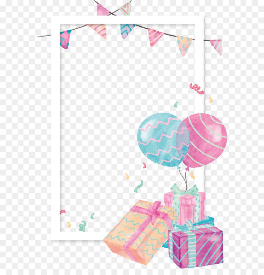 Balloon Gift Clip art - Watercolor gift box balloon border - Baby Toys PNG Borders