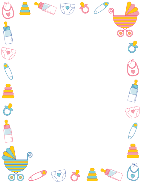 Free baby shower border templates including printable border paper and clip  art versions. File formats include GIF, JPG, PDF, and PNG. - Baby Toys PNG Borders