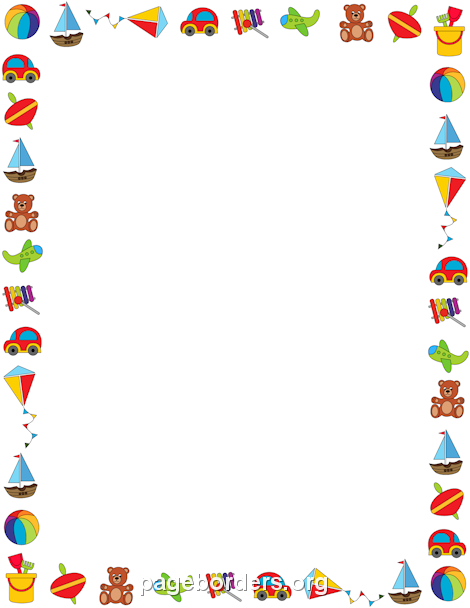 Free toy border templates including printable border paper and clip art  versions. File formats include GIF, JPG, PDF, and PNG. - Baby Toys PNG Borders