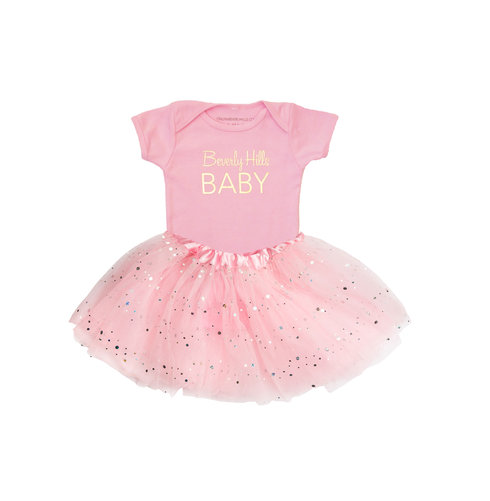 Beverly Hills baby girl onesie and tutu pink and gold PlusPng.com  - Baby Tutu PNG