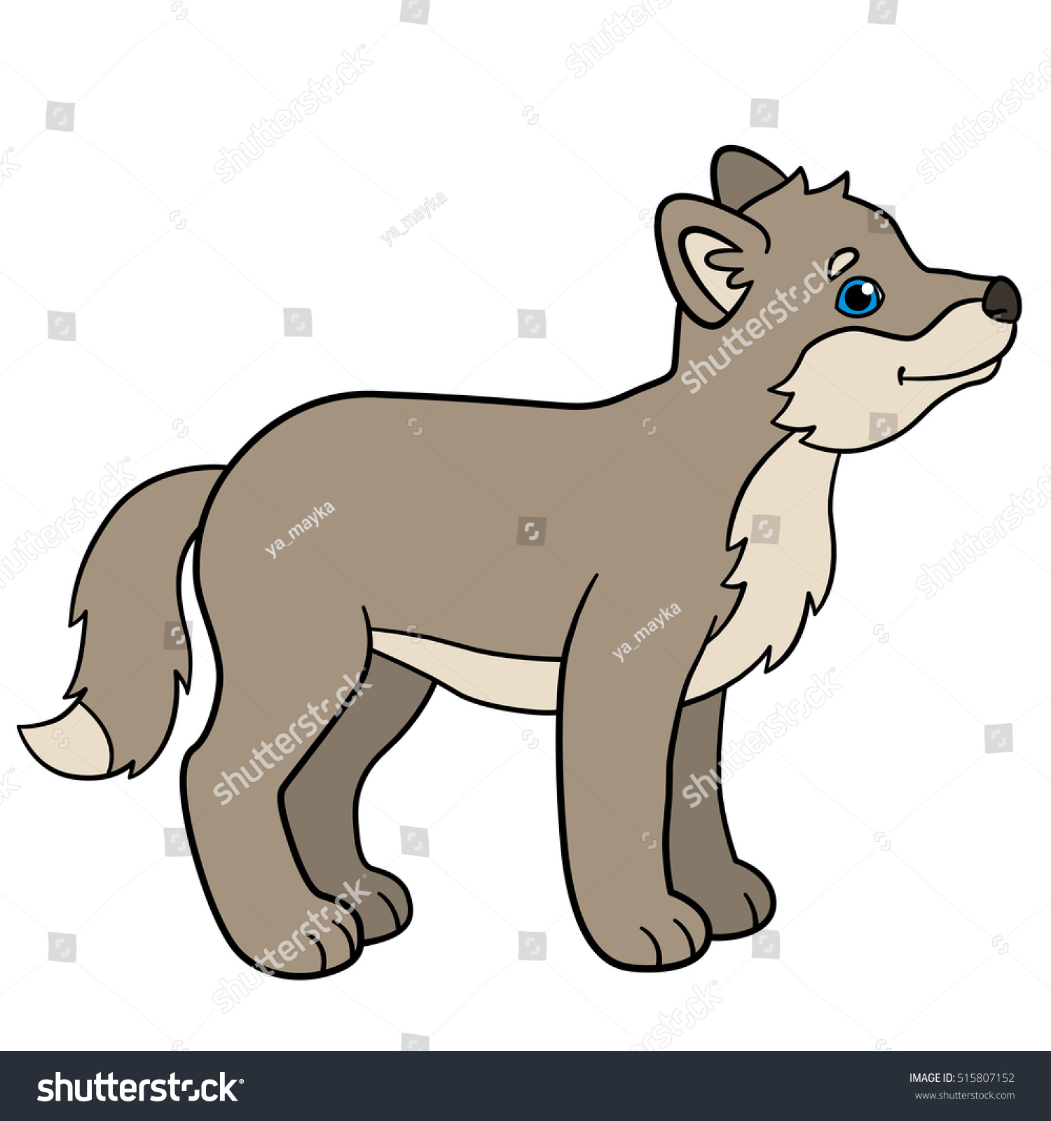 Little cute baby wolf stands and smiles. - Baby Wolf PNG