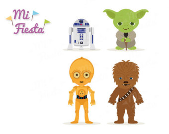 Star Wars Inspired Chewbacca, C3P0, R2D2 and Yoda Clipart birthdays Instant  Digital Download Party - Baby Yoda PNG