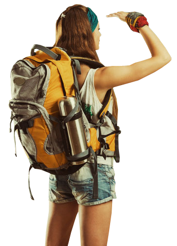 Young woman backpacker traveling along - Backpacker PNG