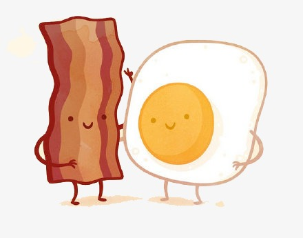 flat bacon and eggs, Flat Material, Flat, Cartoon PNG Image and Clipart - Bacon And Egg PNG