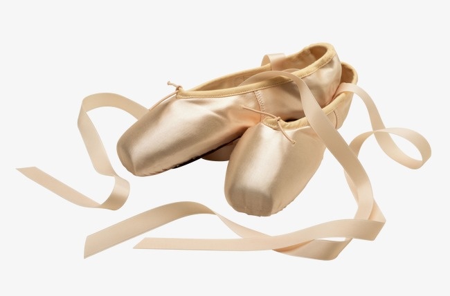 Yellowish pink ballet shoes,