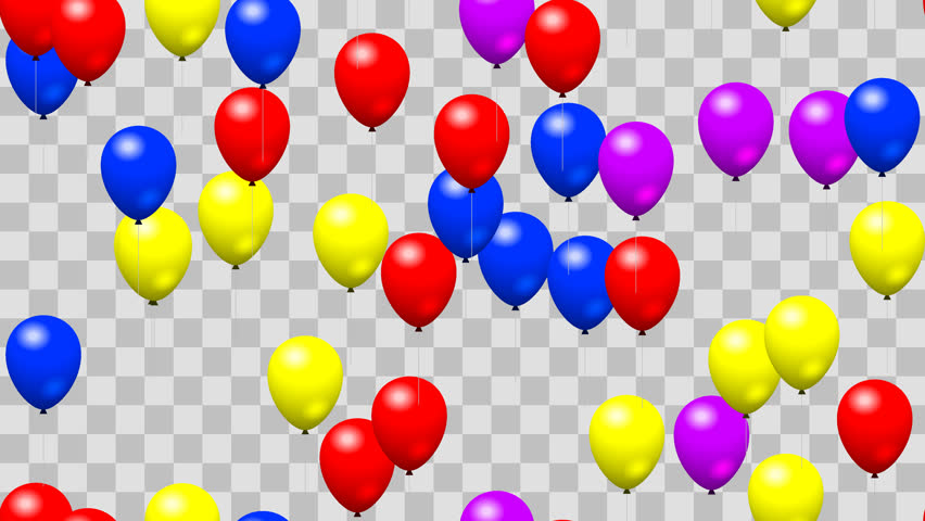 Party birthday balloons seamless loop with PNG transparency - 4K stock  footage clip