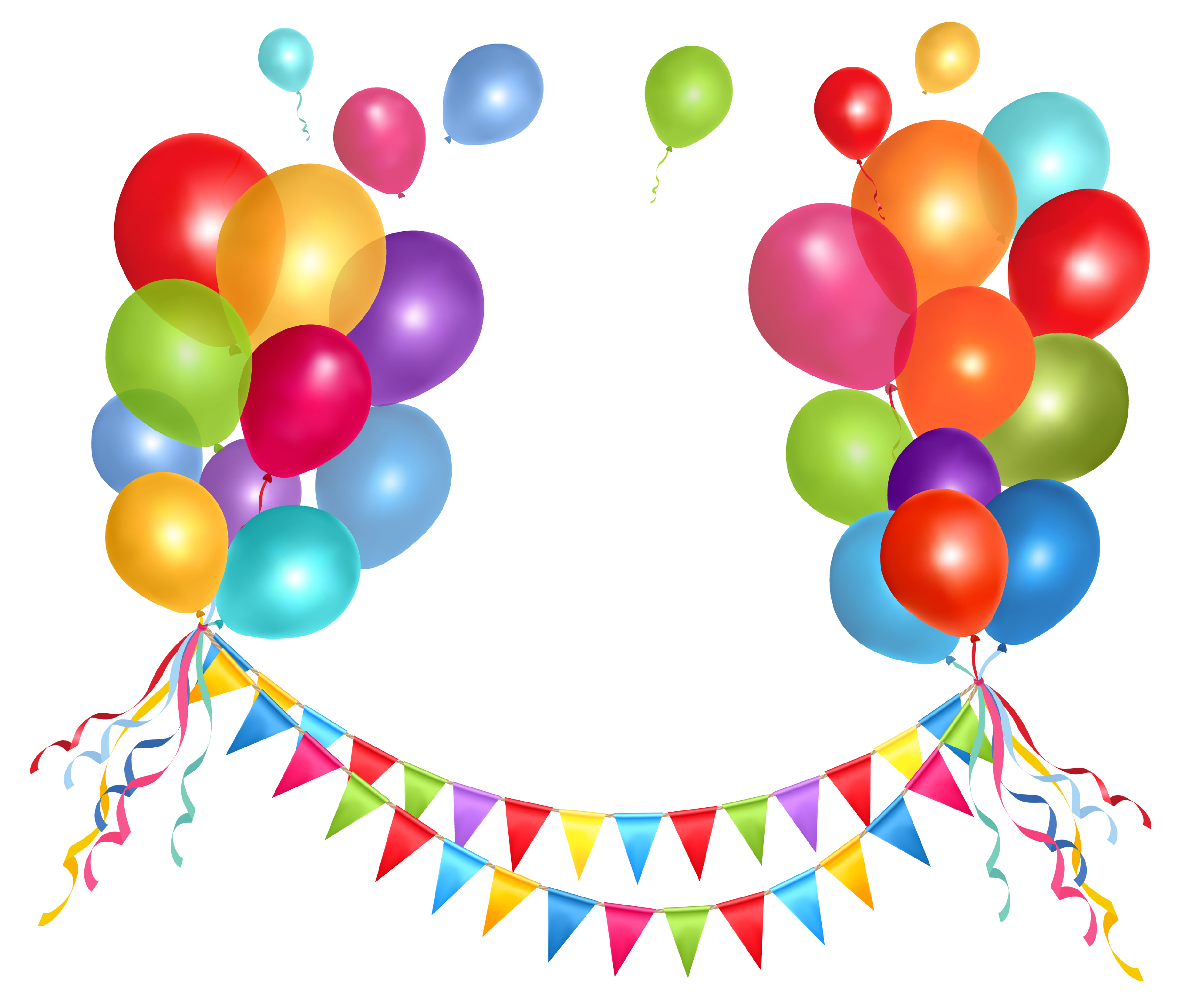 Transparent Party Streamer and Balloons PNG Clipart Picture - Balloon  PNG HD