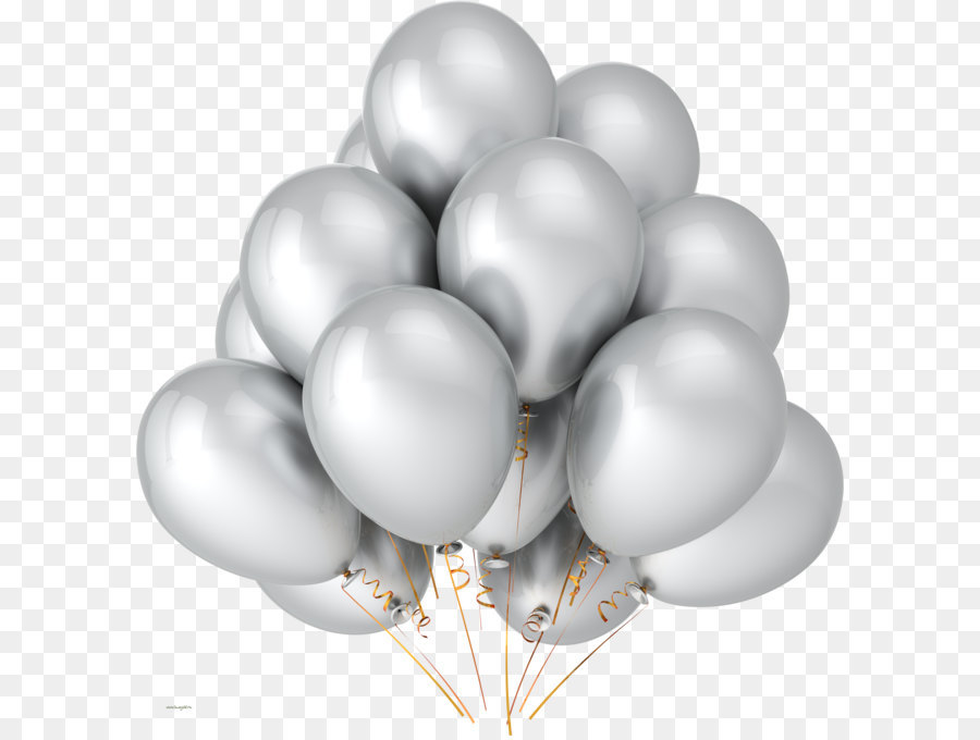 Balloon Silver Party Metallic color Birthday - Yellow balloons PNG image,  free download, balloons - Balloons Bunch PNG Black And White