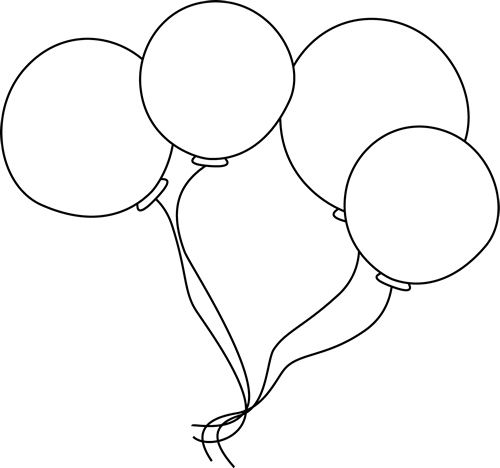 Balloons Bunch PNG Black And White - 166150