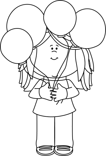 Black and White Girl Holding a Bunch of Balloons - Balloons Bunch PNG Black And White