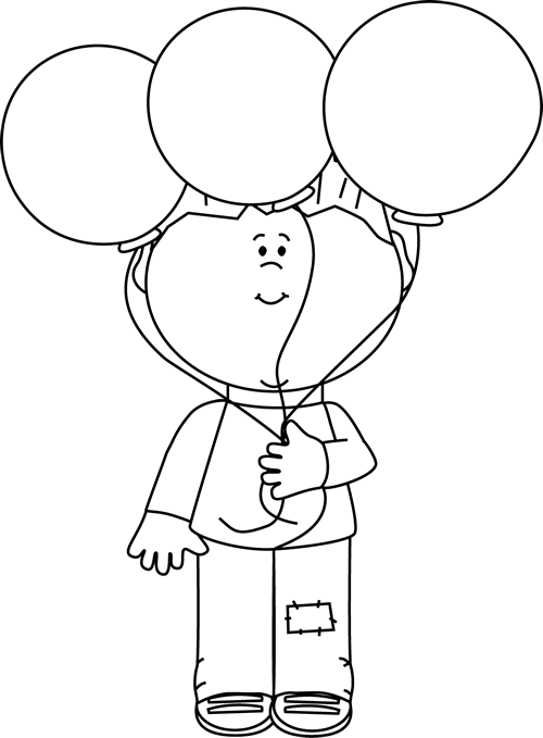 Black and White Little Boy and Balloons - Balloons Bunch PNG Black And White