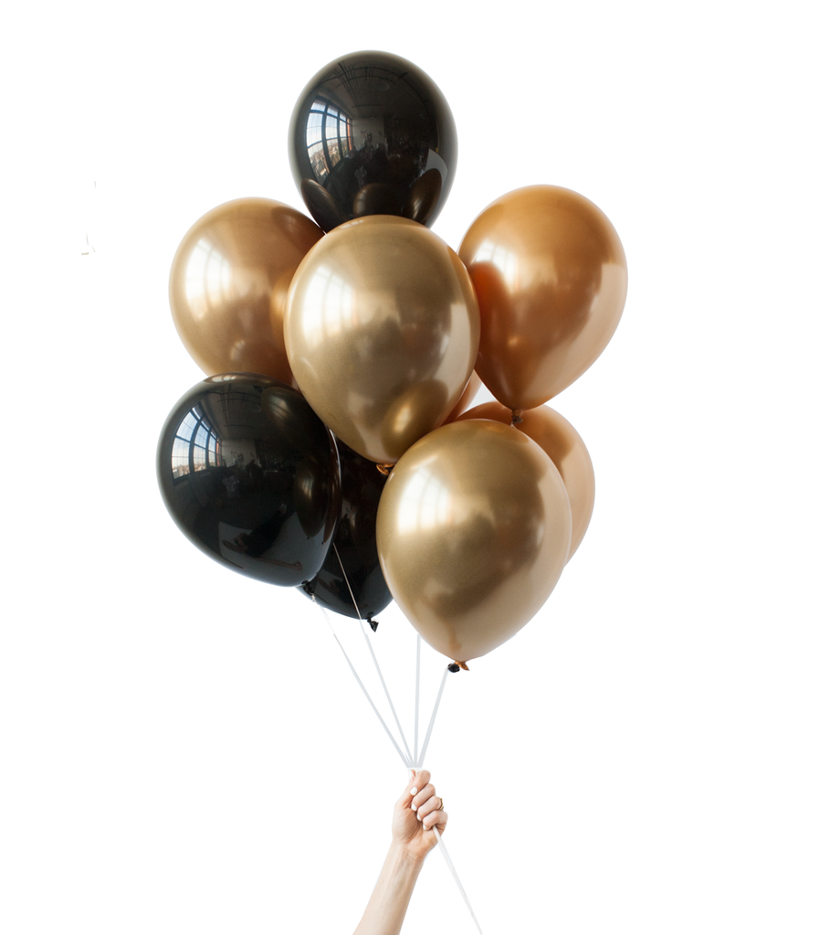 Black u0026 Gold Balloon Bunch (20 Balloons) with a Weight - Balloons Bunch PNG Black And White