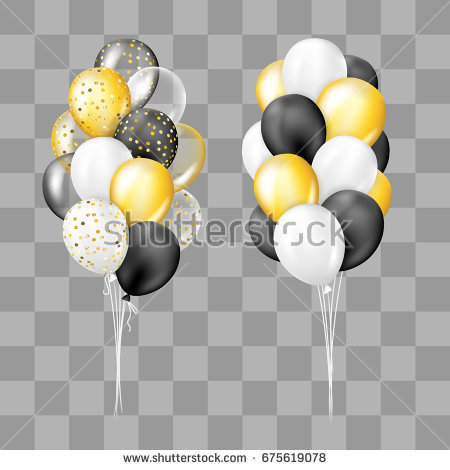 Black, white, gold, transparent and with confetti balloons bunch  collection. Decorations in - Balloons Bunch PNG Black And White