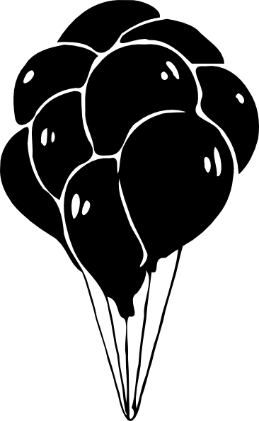 Download this image as: - Balloons Bunch PNG Black And White
