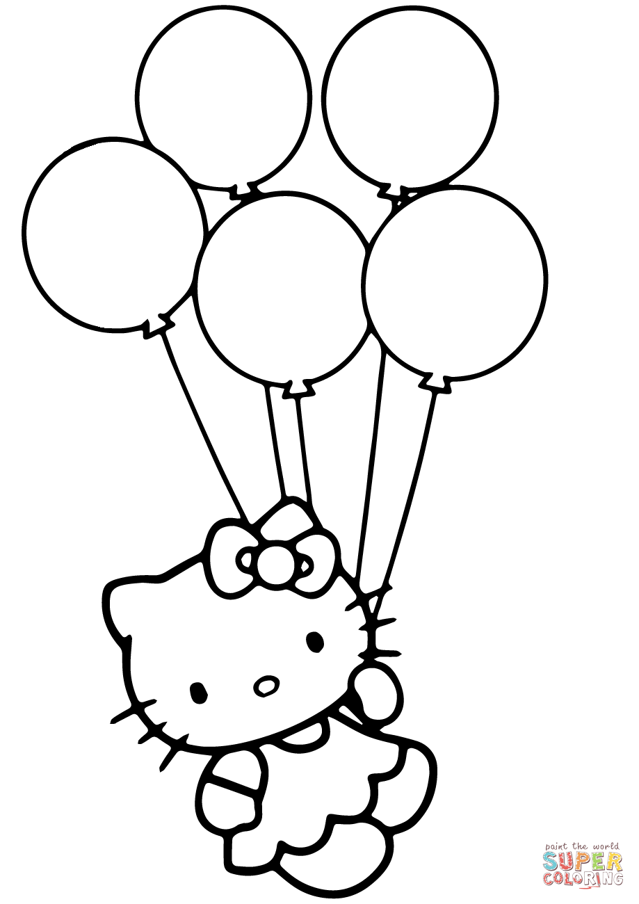 Selected Picture Of Balloons To Color Balloon Coloring Pages Hello Kitty  With Page Free Printable - Balloons Bunch PNG Black And White