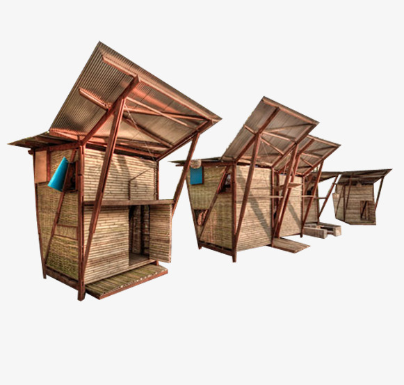 Bamboo house with rainproof board, Bamboo House, Free Buckle, Board PNG  Image and - Bamboo Hut PNG