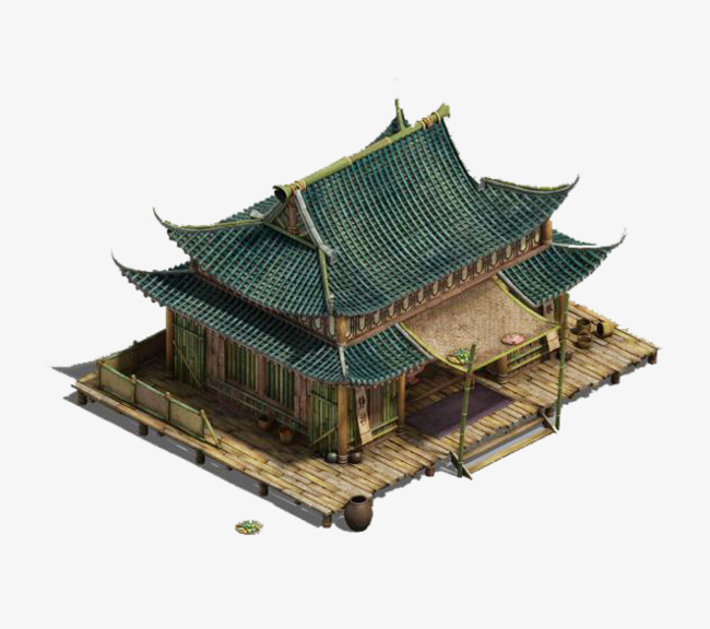Green roof of the bamboo house, Green, Bamboo House, Material PNG Image and - Bamboo Hut PNG