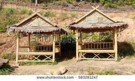 Two bamboo hut - Bamboo Hut PNG