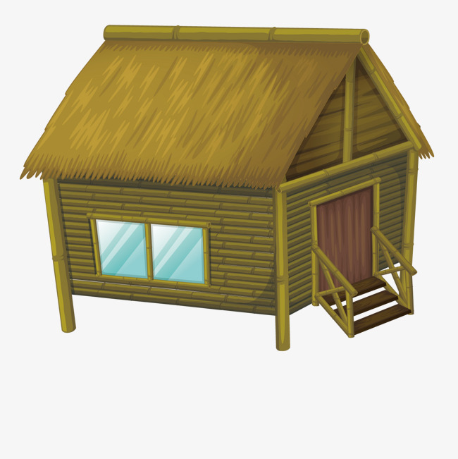 Vector wood bamboo house, Green, Cottage, Decoration PNG and Vector - Bamboo Hut PNG