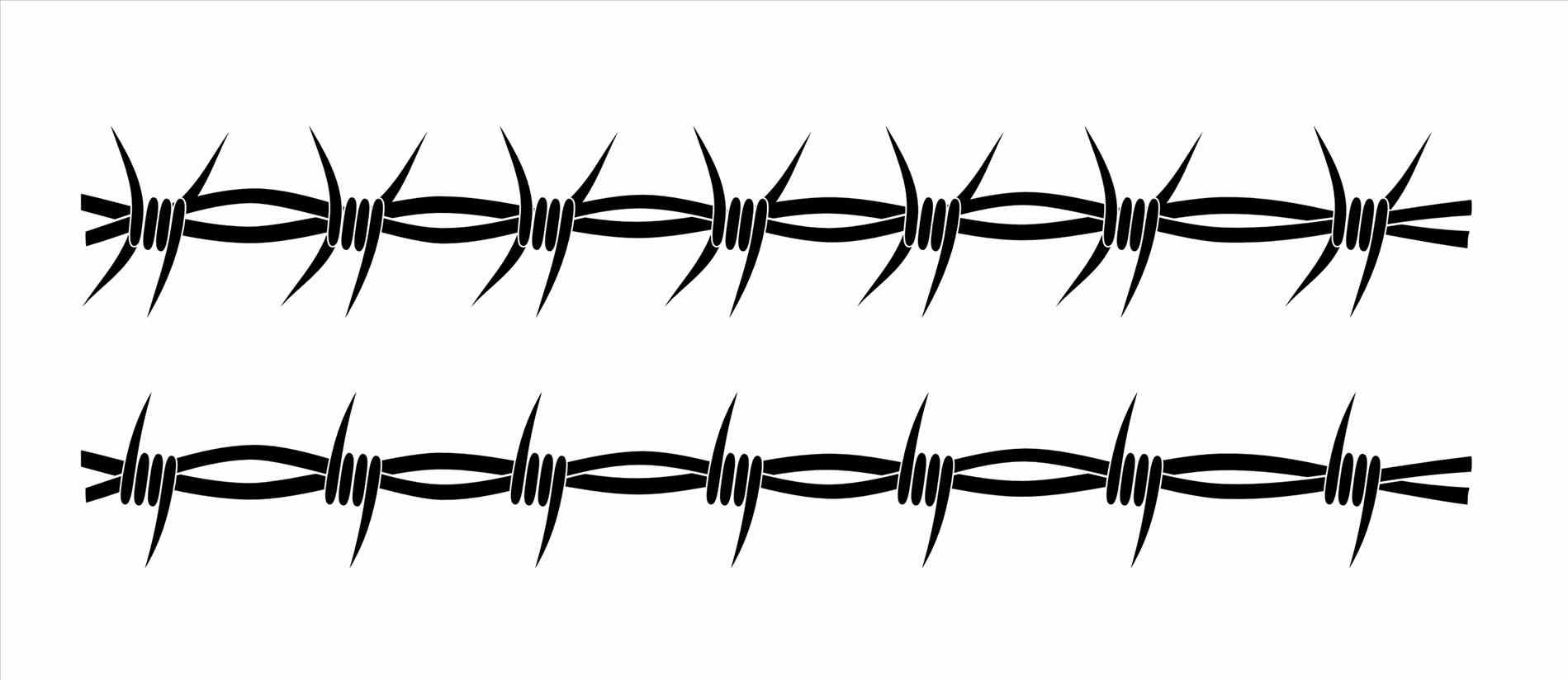 barbed wire collection fence png m vector silhouette graphic depicting  chain link stock vector Barbed Wire - Barbed Wire PNG
