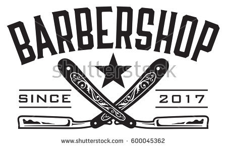 Barbershop Logo Vector design barbershop emblem with crossed straight  razors. - Barber PNG HD