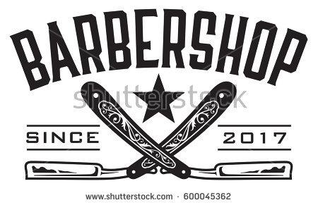 Barbershop Logo Vector Design Barbershop Emblem With Crossed Straight  Razors. - Barber PNG HD