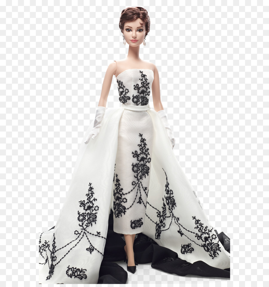 Barbie Doll Black Givenchy dress of Audrey Hepburn Toy Fashion - white  pearl chain - Barbie Doll PNG Black And White