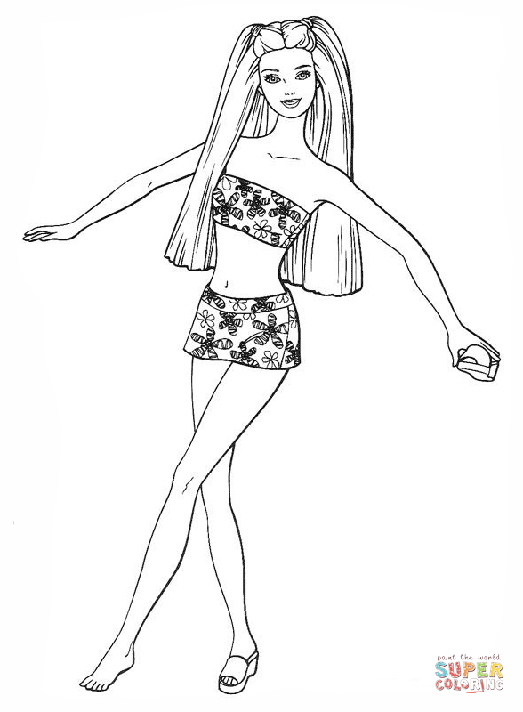 Barbie in a swimsuit - Barbie Doll PNG Black And White