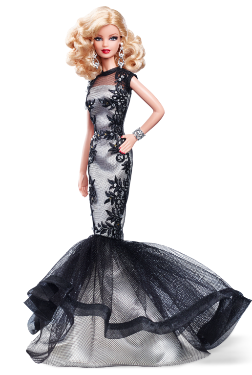 Classic Evening Gown Barbie Doll - Barbie Doll PNG Black And White
