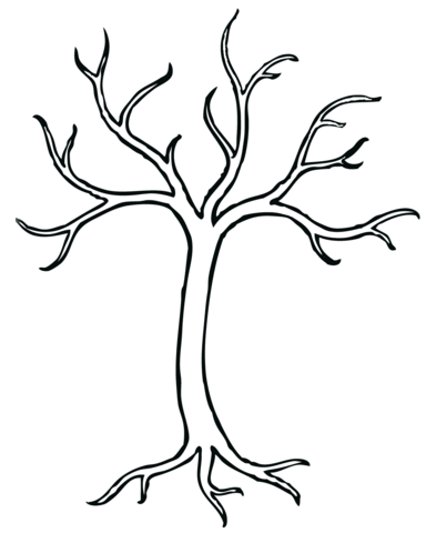 Bare Tree coloring page - Bare Apple Tree PNG