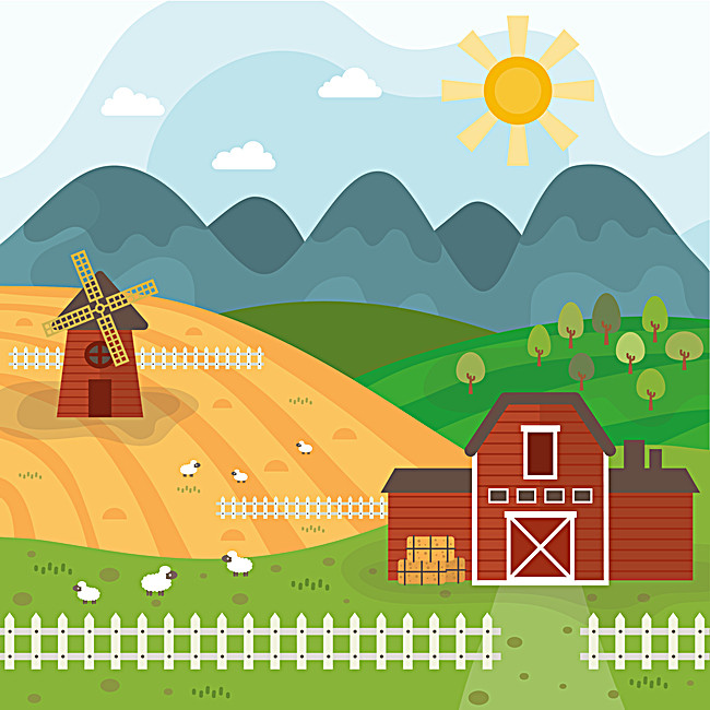 Dutch Windmill Farm Cartoon Background Material, Cartoon, Netherlands,  Windmill, Background image - Barn Background PNG
