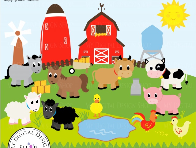 Old MacDonald, Farm Animals, Vector Clipart Image, Scrapbooking Farm, Barn,  Windmill, Cows, Sheep, Duck, Rooster, Hen, Baby Animals, PNG/EPS - Barn Background PNG