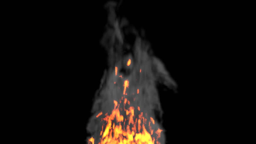 Animated realistic fire with smoke on black background. Wider fire-smoke  base. - - Base HD PNG
