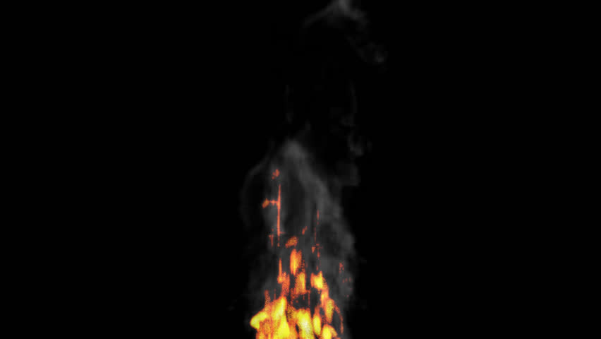 Animated Realistic Fire With Smoke On Transparent Background. (Alpha  Channel Embedded With HD PNG - Base HD PNG