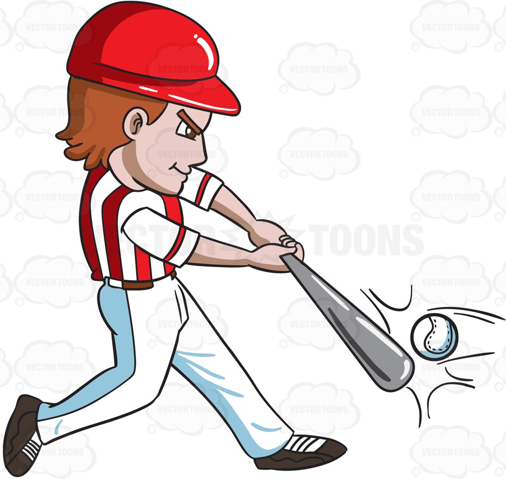 A baseball player hitting a ball with a bat - Baseball Bat Hitting Ball PNG