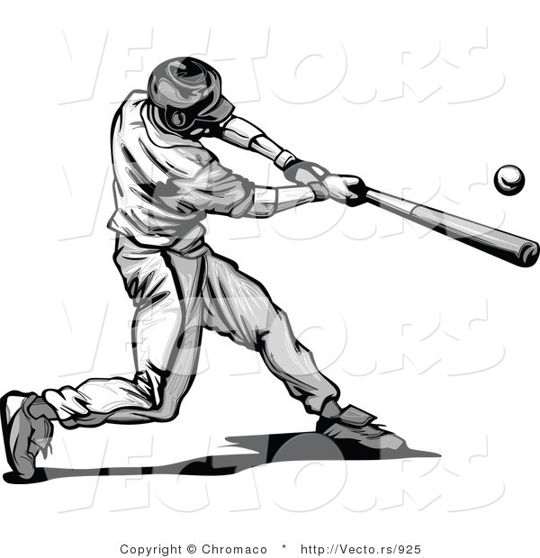 Vector of a Baseball Player Hitting Ball with Bat - Grayscale - Baseball Bat Hitting Ball PNG