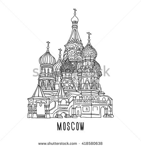 St. Basilu0027s Cathedral. Moscow. Vector illustration. - Basil PNG Black And White