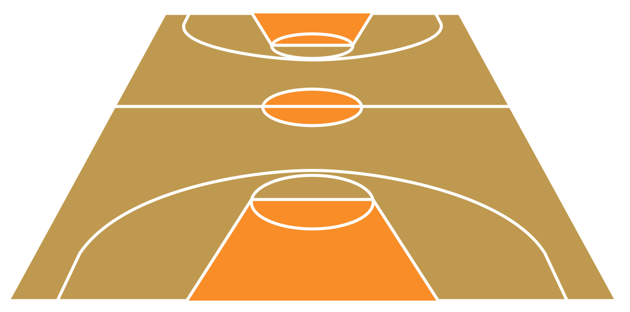 Sport Basketball Court View From Short Side Template Png - Basketball Court PNG HD
