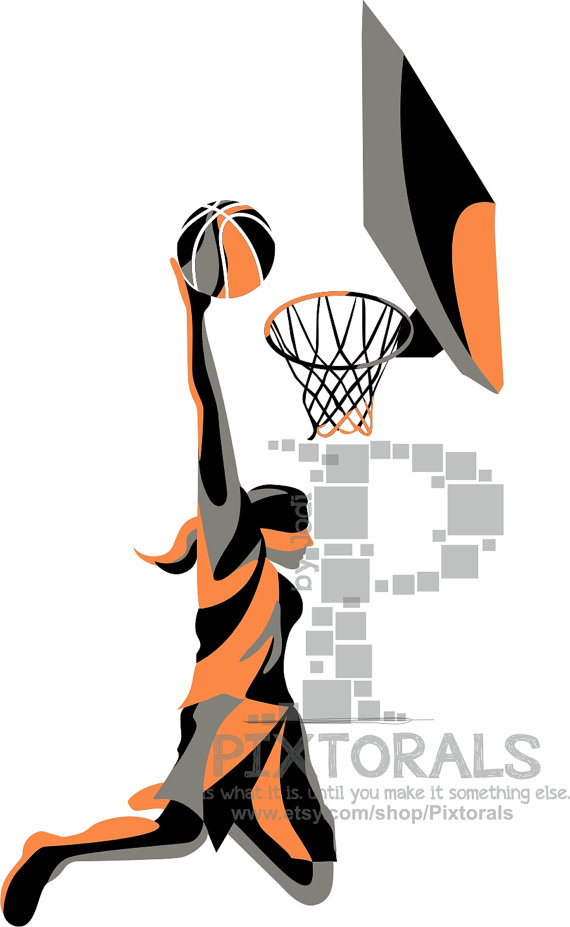 Basketball Female Slam Dunk, eps, jpeg, png, Basketball Vector, line art,  Graphic Design Basketball - Basketball Dunk PNG