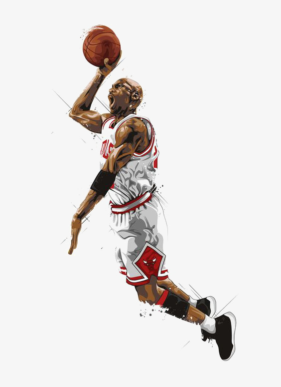Hand-painted basketball player, Jordan, Star, Dunk Free PNG Image - Basketball Dunk PNG