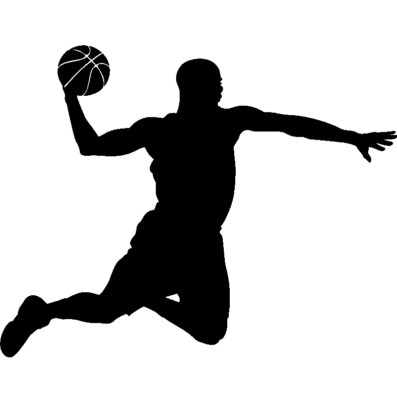 Stickers de silhouettes et personnages - Sticker Basketteur en plein vol -  ambiance-sticker. - Basketball Dunk PNG