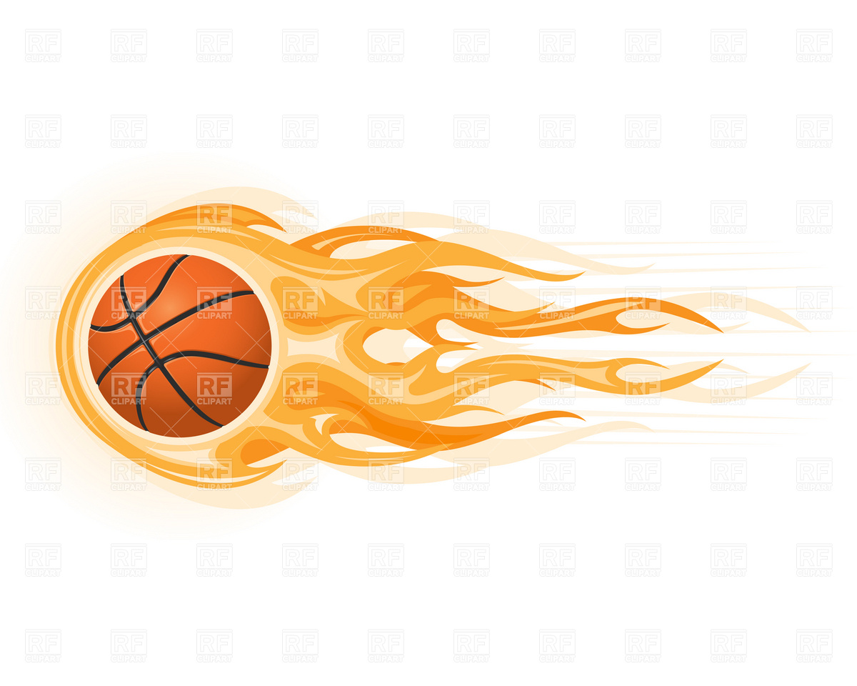 Basketball ball in flame Royalty Free Vector Clip Art - Basketball On Fire PNG