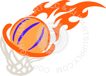 Fire basketball in hoop - Basketball On Fire PNG