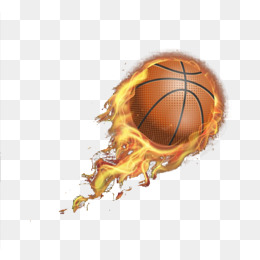 Fire basketball in hoop