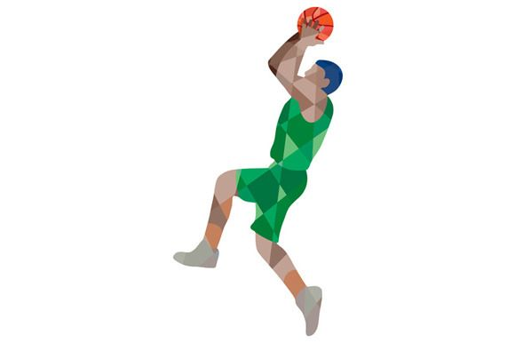 Basketball Player Jump Shot Ball Low - Illustrations - 1. - Basketball Shot PNG