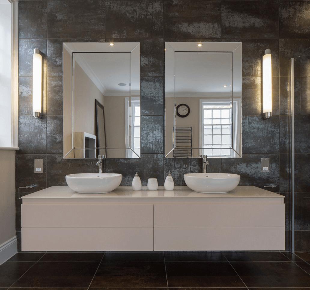 . PlusPng.com double-mirror-granite-bathroom - Bathroom Interior PNG