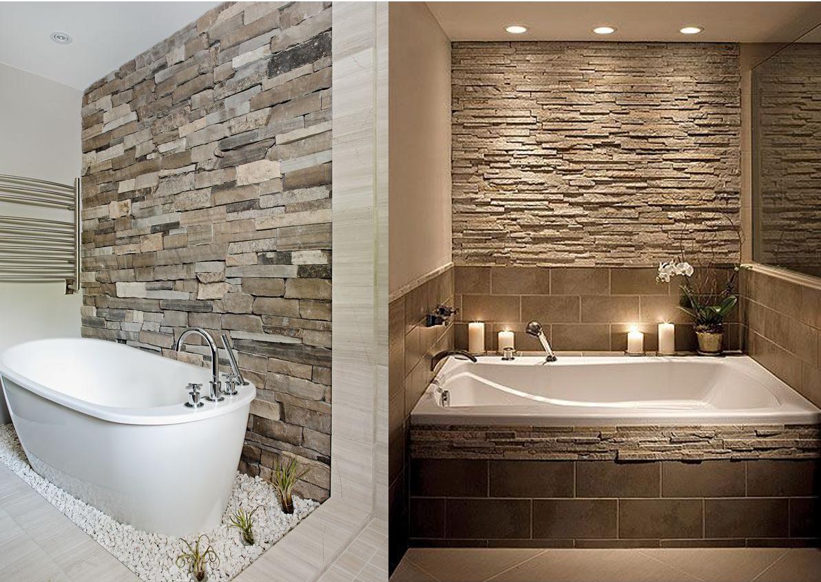 Stone and brick cladding in bathroom interior design - Bathroom Interior PNG
