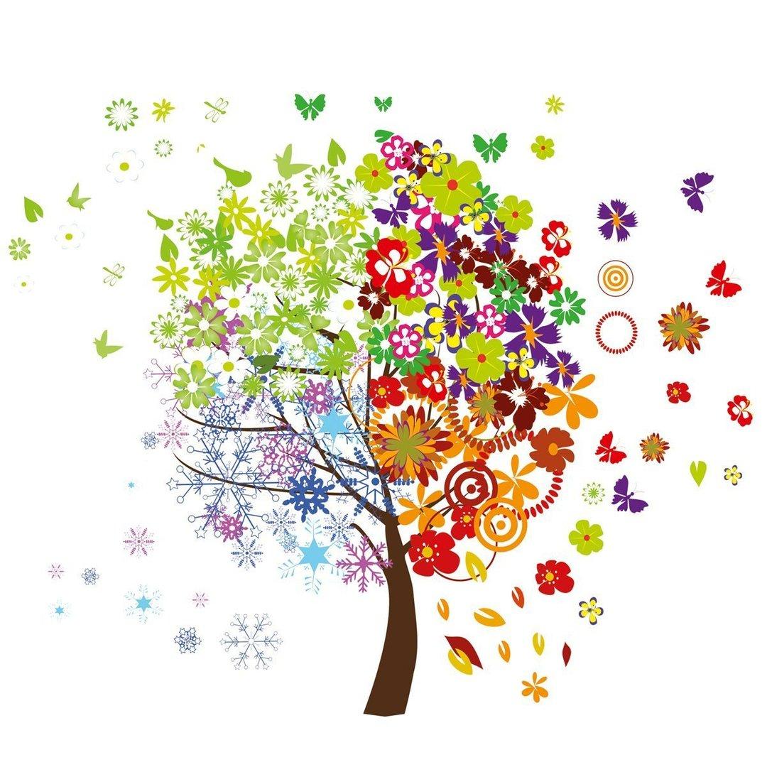 Bunte Wandaufkleber Vier Jahreszeiten Baum, ca 50 x70 cm, von Eurographics  PlusPng.com  - Baum Jahreszeiten PNG