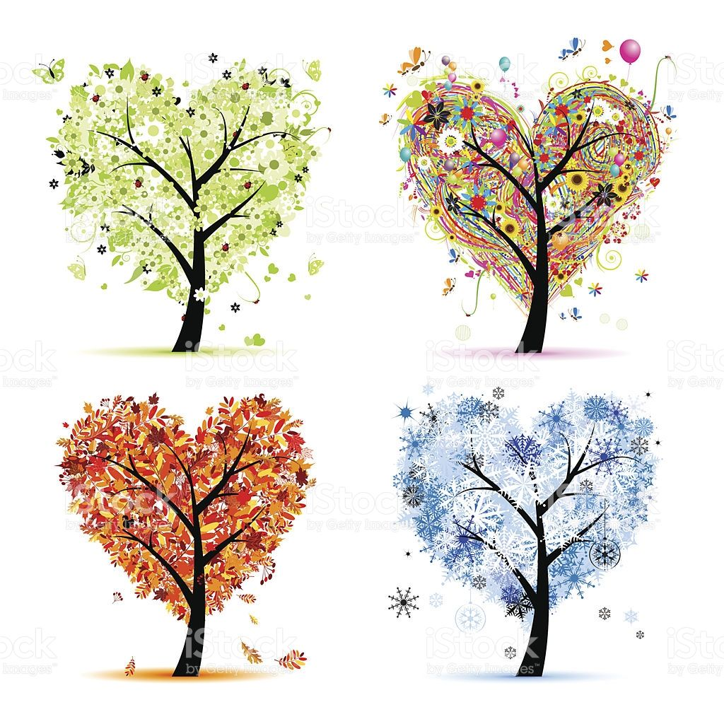 Art trees love collection for your design, four seasons royalty-free stock  vector art. BaumLeinwandGeschirrGeschenkeVier-jahreszeiten PlusPng.com  - Baum Vier Jahreszeiten PNG